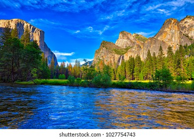 Cathedral Rocks and Bridalveil Fall in Yosemite National Park.