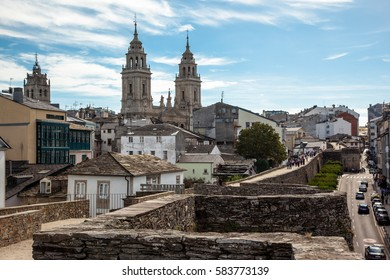 Cathedral and Roman wall of Lugo. Galicia. Spain