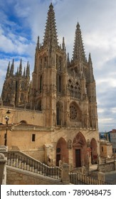 The Cathedral of Saint Mary of Burgos in the sun light. It is one of the most majestic gothic cathedrals in Spain