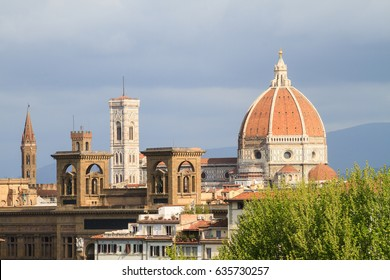 Cathedral of Saint Mary of the Flowers with clouds, Florence, Italy