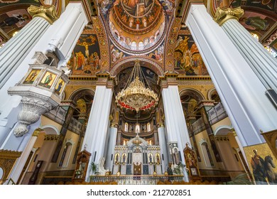Cathedral of Saint Minas orthodox church inside in Heraklion, Crete