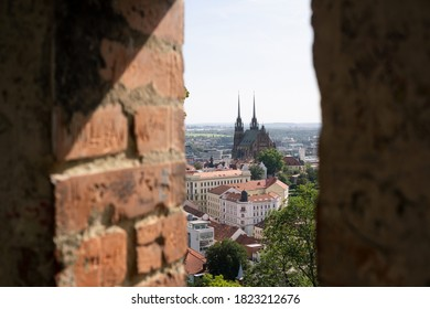 Cathedral of Saint Peter and Paul (Katedrala svateho Petra a Pavla), Petrov, Brno, Czech Republic / Czechia. View from Spilberk castle. Shallow focus with blurred  masonry. - Shutterstock ID 1823212676