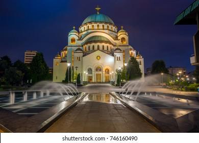 Cathedral of Saint Sava at night, Belgrade, Serbia