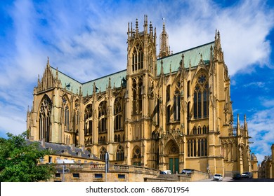 The Cathedral of Saint Stephen of Metz, France, (Cathédrale Saint Étienne). It is the historic cathedral of the Roman Catholic Diocese of Metz and the seat of the Bishop of Metz.