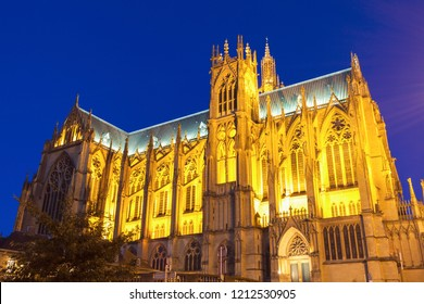 Cathedral of Saint Stephen in Metz illuminated at night. Metz, Grand Est, France.