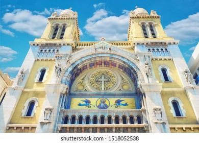 Cathedral of Saint Vincent de Paul in Tunis. Catholic Church located in Tunis, Tunisia. The temple is the Cathedral is named after St Vincent de Paul.
