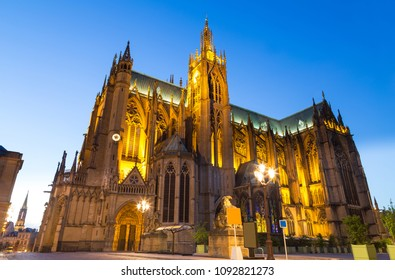 Cathedral Saint-Etienne at night in Metz on the Moselle France.