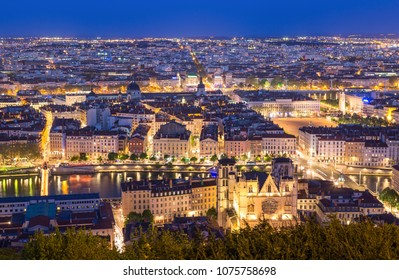 Cathedral Saint-Jean-Baptiste and the city of Lyon during twilight. Lyon, France.