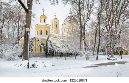 Cathedral of Saints Peter and Paul and the tomb of the Paskevich. Gomel. Belarus. Winter in the Gomel Park of the Rumyantsevs and Paskevichi. Snowstorm and snowfall.
