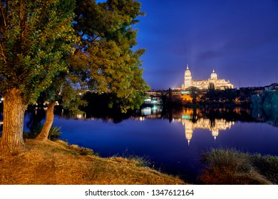 Cathedral of Salamanca at night view from the Tormes River, Salamanca City, Spain, Europe