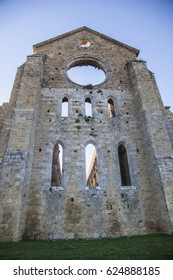 Cathedral of San Galgano in the Tuscan countryside in Italy
