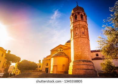 Cathedral Santa Maria Assunta in Oristano. It is built in the Baroque style, and is located in the historical center of the city. Sardinia, Italy