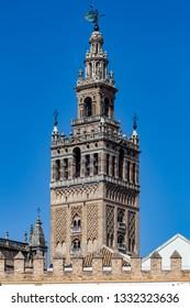 The cathedral, santa maria de la sede, and the Giralda, Sevila, Spain,