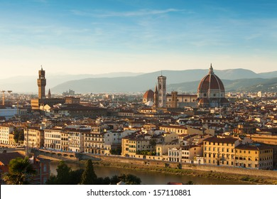 Cathedral Santa Maria Del Fiore with Giotto's Campanile at sunrise in Florence, Italy