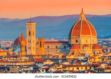 Cathedral of Santa Maria del Fiore at sunrise, Florence, Italy