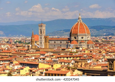 Cathedral of Santa Maria del Fiore in Tuscany, Florence, Italy. View from the Michelangelo Square
