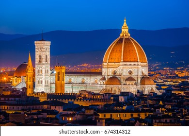 Cathedral Santa Maria del Fiore at night, Florence, Italy. Florence landmark and architecture from Renaissance. Florence Cathedral is one of the main attractions of Florence and Italy