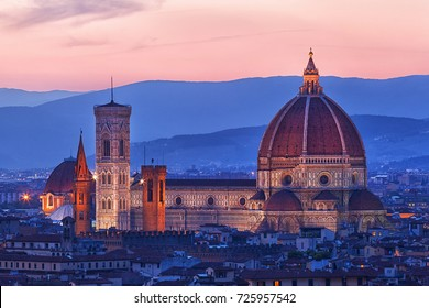 Cathedral of Santa Maria del Fiore on a sunset,Florence, Italy