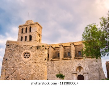 Cathedral of Santa María, in the old area of Dalt Vila, in the city of Ibiza, Spain, during sunset