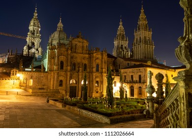 Cathedral of Santiago de Compostela during the blue hour in yellow light - The Way of St. James