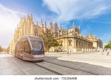 Cathedral of seville on summer and tram ,Spain
