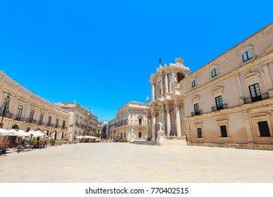 The cathedral of Siracusa (Ortigia island at city of Syracuse, Sicily, Italy). UNESCO World Heritage Site. Beautiful travel photo of Sicily.