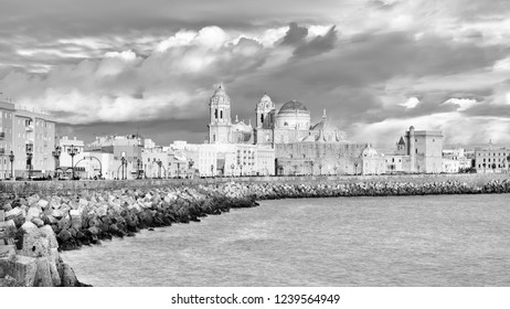 Cathedral from Southern Field Cadiz Spain Black and White