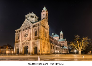 "Cathedral in Speyer, Germany at night. Officially called the Imperial Cathedral Basilica of the Assumption and St Stephen, or short in german ""Dom zu Speyer"""