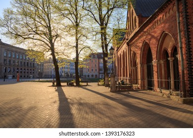 Cathedral Square (Doma Laukums) in Riga, Latvia, empty on a sunny morning.