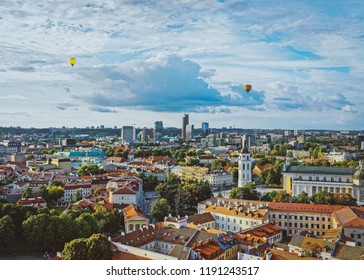Cathedral Square and Financial District, with air balloons in the sky in the old town of Vilnius, Lithuania