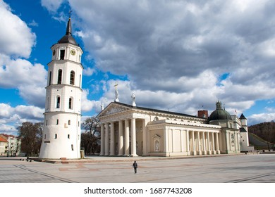 The Cathedral Square, main square of the Vilnius Old Town, with tower, Gediminas castle, Lithuania