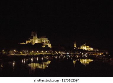 Cathedral st Etienne and the archbishopric, photographed during the night (Auxerre Burgundy)
