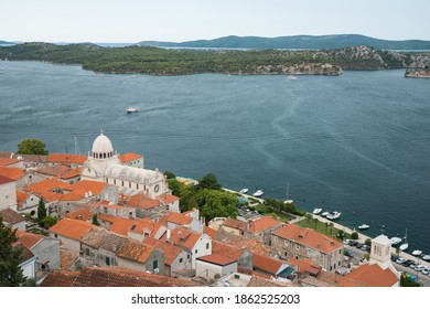 The Cathedral of St. James (Croatian: Katedrala sv. Jakova) in Šibenik and view on bay. - Shutterstock ID 1862525203