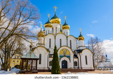 Cathedral Of St. Nicholas in Nikolsky monastery, Pereslavl-Zalessky, Yaroslavl region, Russia, March 2019