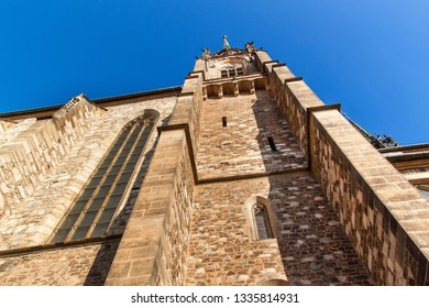 Cathedral of St. Peter and Paul in the center of Brno city - Czech Republic. Church bell tower.