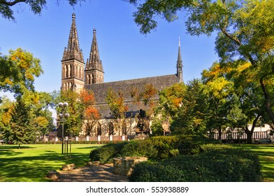 Cathedral of St. Peter and Paul, Vysehrad, Prague. Neo Gothic Basilica of St Peter and St Paul in Vysehrad fortress. Landmarks of Prague.