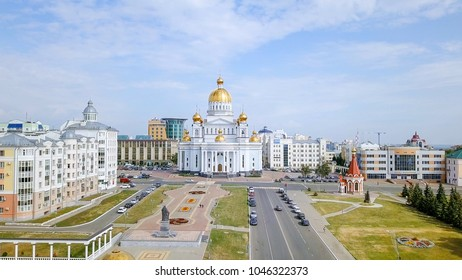 Cathedral of St righteous warrior Feodor Ushakov. Saransk, Russia. Beautiful panoramic view of the city