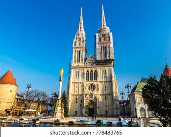 Cathedral And St.Mary's Column - Zagreb, Croatia, Europe
