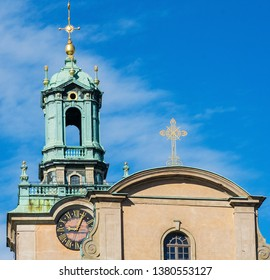 Stockholm's Cathedral (Storkyrkan  or 'Great Church'), at the of Gamla Stan near the Royal Palace. bell tower Lutheran of the church of St. Nicholas in Stockholm, Sweden.
