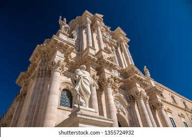 The Cathedral of Syracuse (Duomo di Siracusa), a UNESCO World Heritage Site  on Ortygia Island, Syracuse (Siracusa), Sicily, Italy. Originally a Doric Greek temple dedicated to Athena