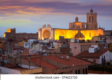 Cathedral of Tarragona  in twilight. Catalonia, Spain