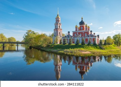 Cathedral of the Transfiguration on the river Polist in the ancient Russian city of Staraya Russa