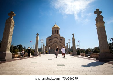 Cathedral of Tsmind Sameba, Tbilisi - MARCH 08: Tourists visiting the Cathedral of Tsmind Sameba in the Tbilisi. Rome, Tbilisi on March 08, 2017