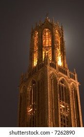 Cathedral of Utrecht backlit by the moon
