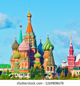 The Cathedral of Vasily the Blessed (Saint Basil's Cathedral). Red Square. Moscow. Russia. Sunny day