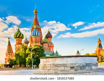 The Cathedral of Vasily the Blessed (Saint Basil's Cathedral) and Lobnoye mesto on Red square in summer morning. Moscow. Russia - Shutterstock ID 1818157685
