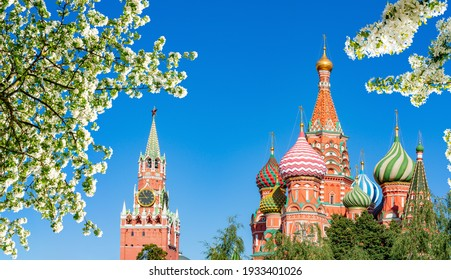 Cathedral of Vasily the Blessed (Saint Basil's Cathedral) and Spasskaya Tower on Red Square in spring, Moscow, Russia