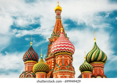 The Cathedral of Vasily the Blessed, or Saint Basil`s Cathedral, in the Red Square in Moscow, Russia. St. Basil`s Cathedral was built in the 16th century and is a symbol of Russian culture.