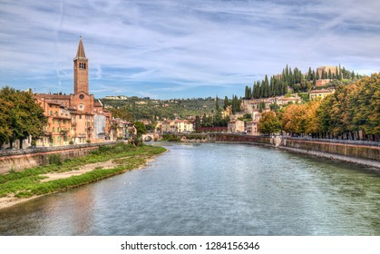 Cathedral of Verona on the Adige river in Verona, Italy