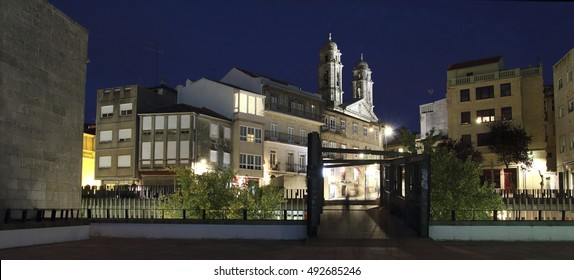 cathedral of Vigo city at night
